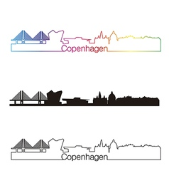 Copenhagen skyline linear style with rainbow vector