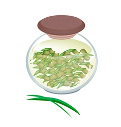 A jar of pandan tea with pandan leaves vector