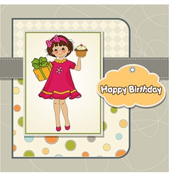 Birthday greeting card with girl and big cupcake vector
