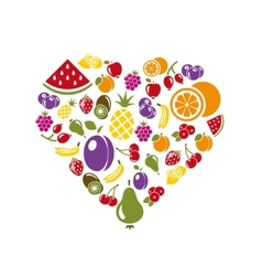 Fruit icons in heart vector