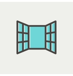 Open windows thin line icon vector