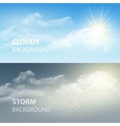 Thunder and lightning sun and clouds weather vector