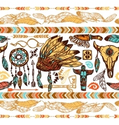 Native americans seamless pattern vector
