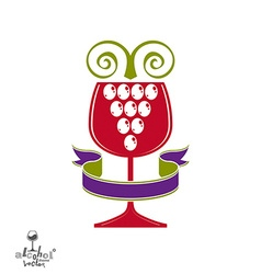 Winery award theme stylized half full glass vector