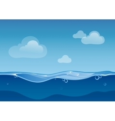 Water ocean seamless landscape with sky and clouds vector