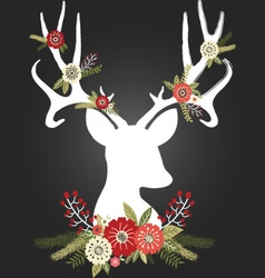 Chalkboard christmas deer antlers with flowers set vector
