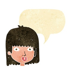 Cartoon surprised woman with speech bubble vector