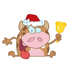 Calf cartoon character ringing a bell vector
