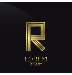 Golden R Letter vector image