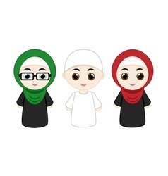 Set of muslim people vector