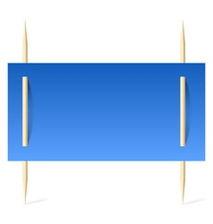 Blue paper on toothpicks vector image