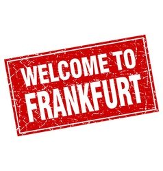 Frankfurt red square grunge welcome to stamp vector