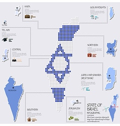 Dot and flag map of state of israel infographic vector