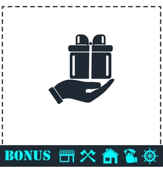 Arm of gift icon flat vector