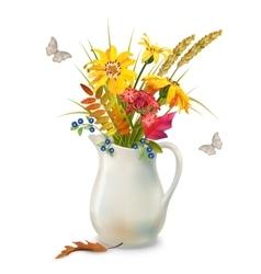 Autumn flowers in jug vector