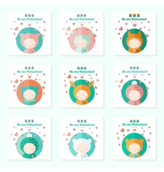 Childish cards with cute characters for Valentines vector image