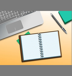 computer and notebook on the table vector image vector image