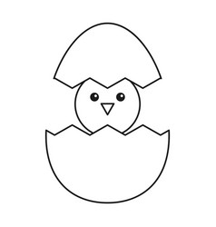 Cute easter egg chicken thin line vector