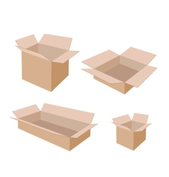 Different Size of Open Blank Brown Cardboard Boxes vector image