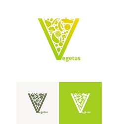 emblems with fruit and vegetables vector image vector image