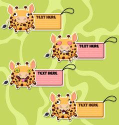 Four cute cartoon Giraffes stickers vector image vector image