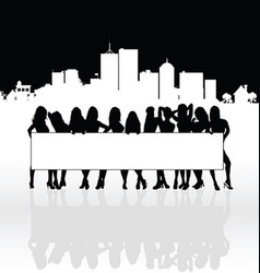 Girl silhouette set front of building vector