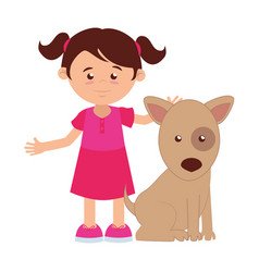 girl with cute dog mascot icon vector image