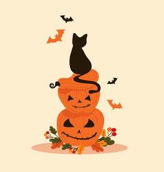 Halloween objects - black cat sits on pumpkins vector