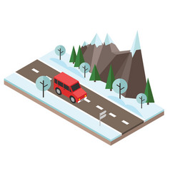 Isometric countryside winter road car goes vector
