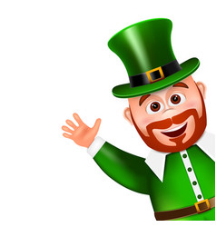 Leprechaun cartoon character peeking saint vector