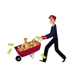 man businessman pushing wheelbarrow full of money vector image vector image