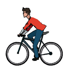 Man wear glasses riding bicycle transport vector