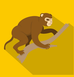monkey sitting on a branch icon flat style vector image