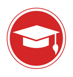 Monochrome circular emblem with graduation hat vector