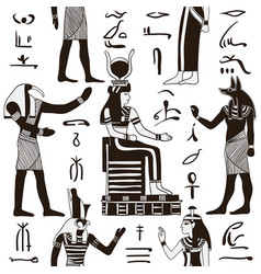 pattern with egyptian gods and hieroglyphs vector image