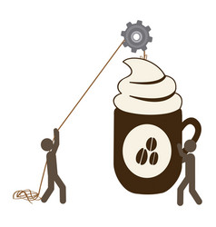 People with pulleys hanging the coffee cup vector