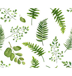 seamless greenery green leaves botanical rustic vector image
