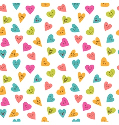 Seamless pattern with funny smiley hearts Cute vector image vector image