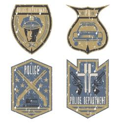 Set of grunge vintage police law enforcement vector
