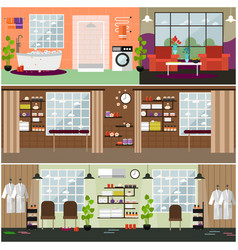 Set of spa interior concept posters vector