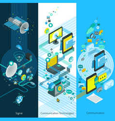 Telecommunication isometric vertical banners vector