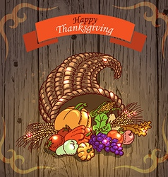 Thanksgiving Day Greeting Card on wood background vector image vector image