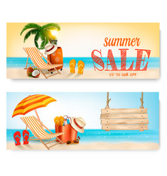 Two summer sale banners with beach chair and vector