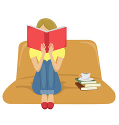 Young woman reading book sitting on sofa vector