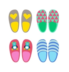 Home slippers icons vector
