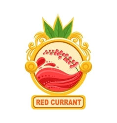 Red currant bright color jam label sticker vector