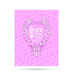 Pink and blue paper hearts with angel wings vector image