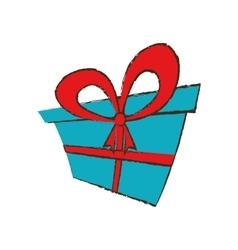Color gift box ribbon festive surprise sketch vector