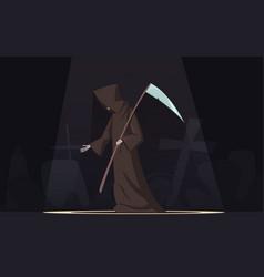 Death with scythe symbol cartoon image vector