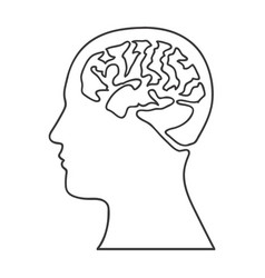 monochrome silhouette of human head with brain vector image